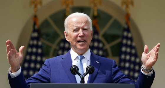 U.S. President Joe Biden speaks as he announces executive actions on gun violence prevention in the Rose Garden at the White House in Washington, U.S., April 8, 2021.