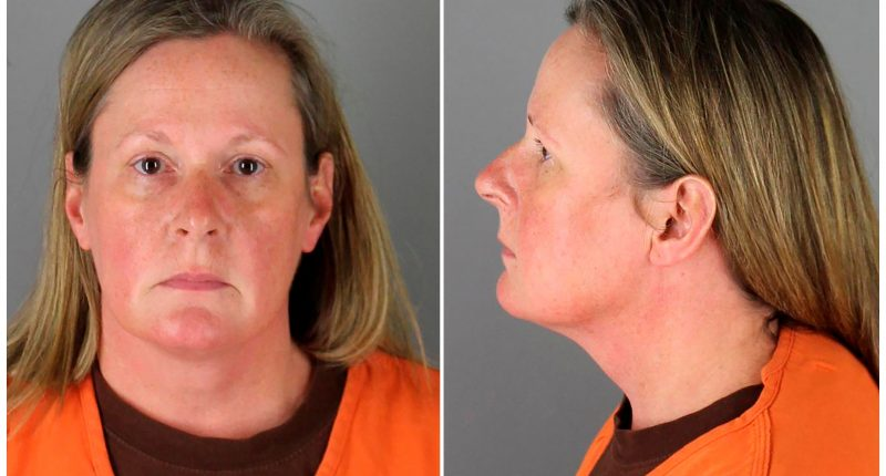 Kim Potter, a 26-year veteran who resigned from the Brooklyn Center police force, poses for a booking photograph at Hennepin County Jail for fatally shooting 20-year-old Daunte Wright during a traffic stop, in Minneapolis, Minnesota, U.S. April 14, 2021 in a combination of photographs.